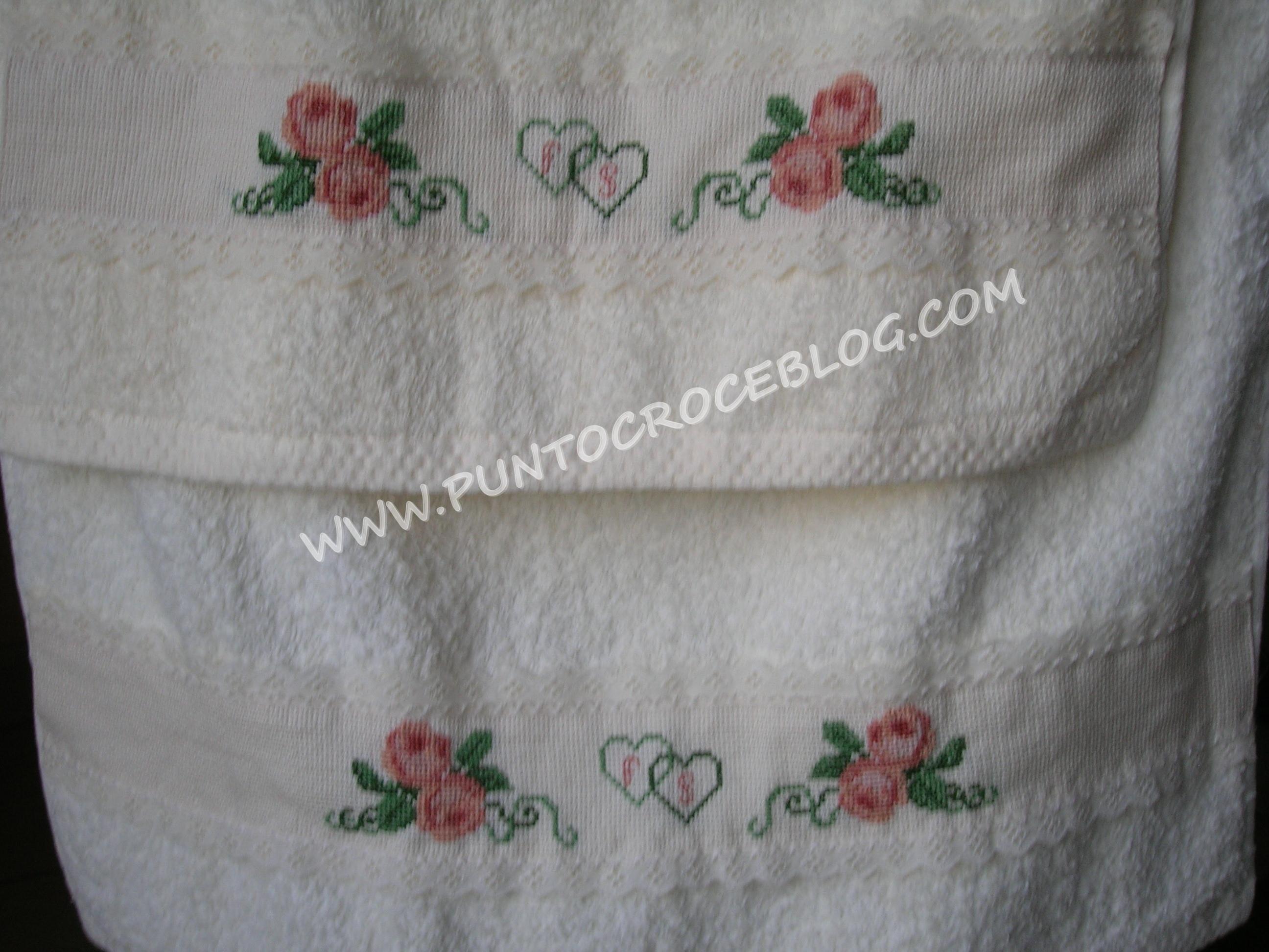 Asciugamani con fiori ricamati gift con tende a punto croce per