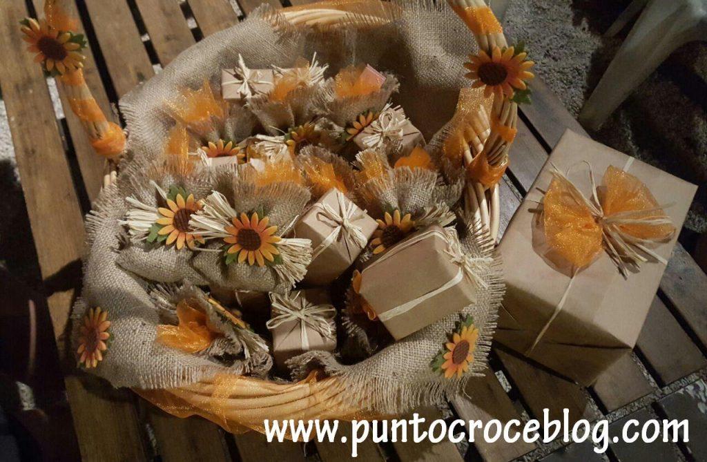 Bomboniere Puntocroce in Juta e Girasoli